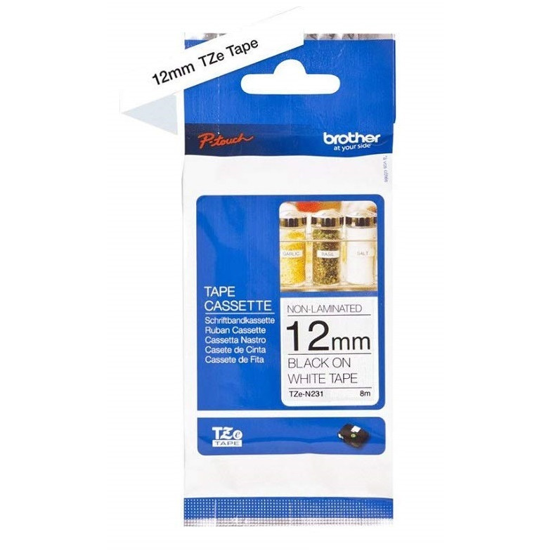 Brother TZe tape 12mmx8m non laminated black/white