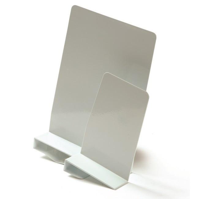 Bogstøtter med klemme til højre hvid metal - 20 cm