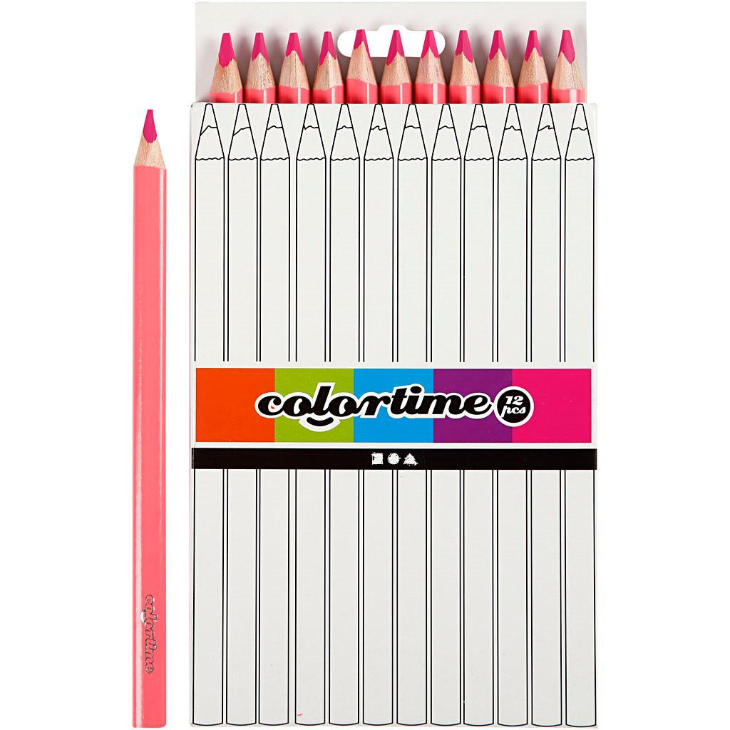 Colortime farveblyanter, mine: 5 mm, pink, , Jumbo, 12stk.