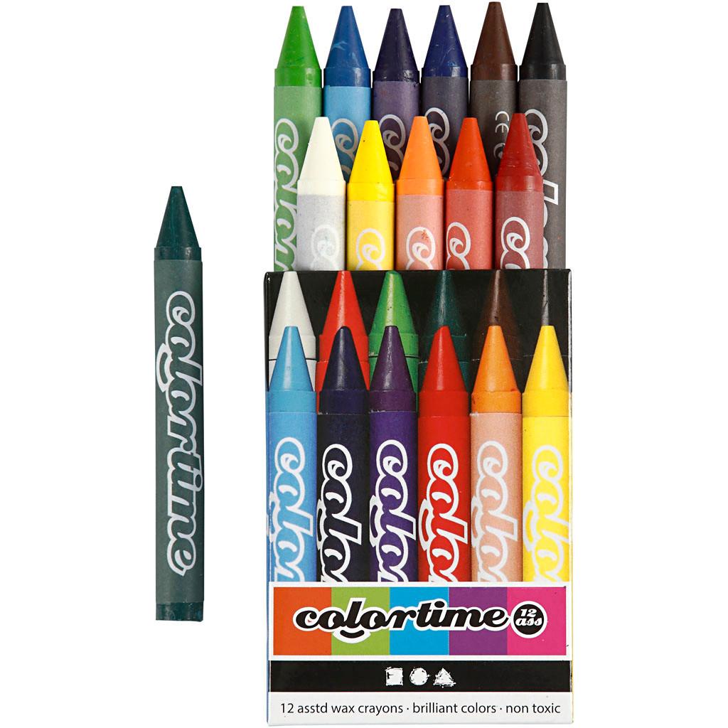 Colortime farvekridt - 11 mm tykkelse - 10 cm lange - 12 stk. i assorteret farver