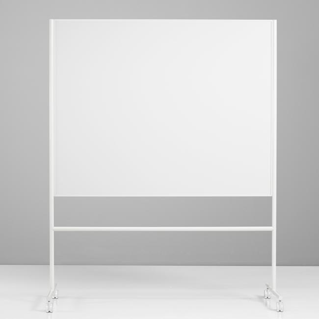 Dobbeltsidet mobiltavle - Lintex ONE 150 x 120 cm hvid ramme og stativ