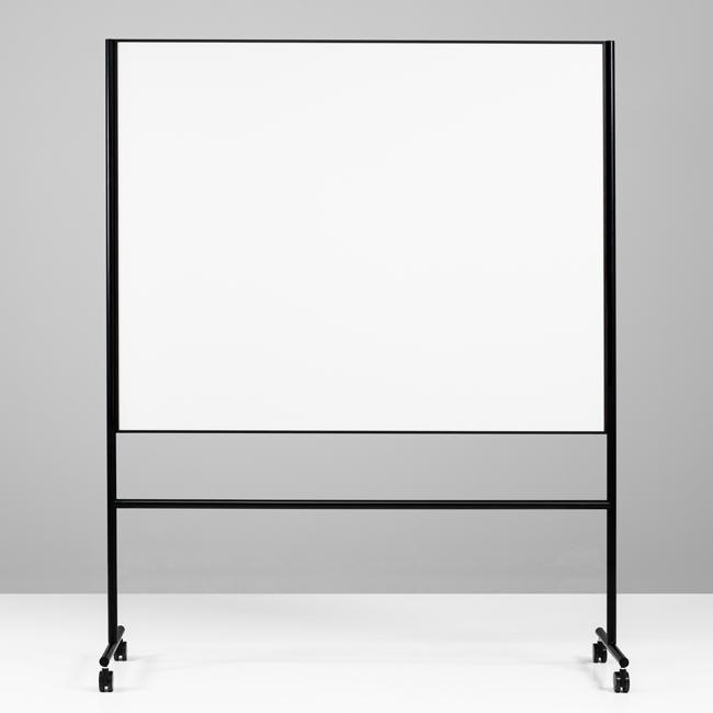 Dobbeltsidet mobiltavle - Lintex ONE 150 x 120 cm sort ramme og stativ
