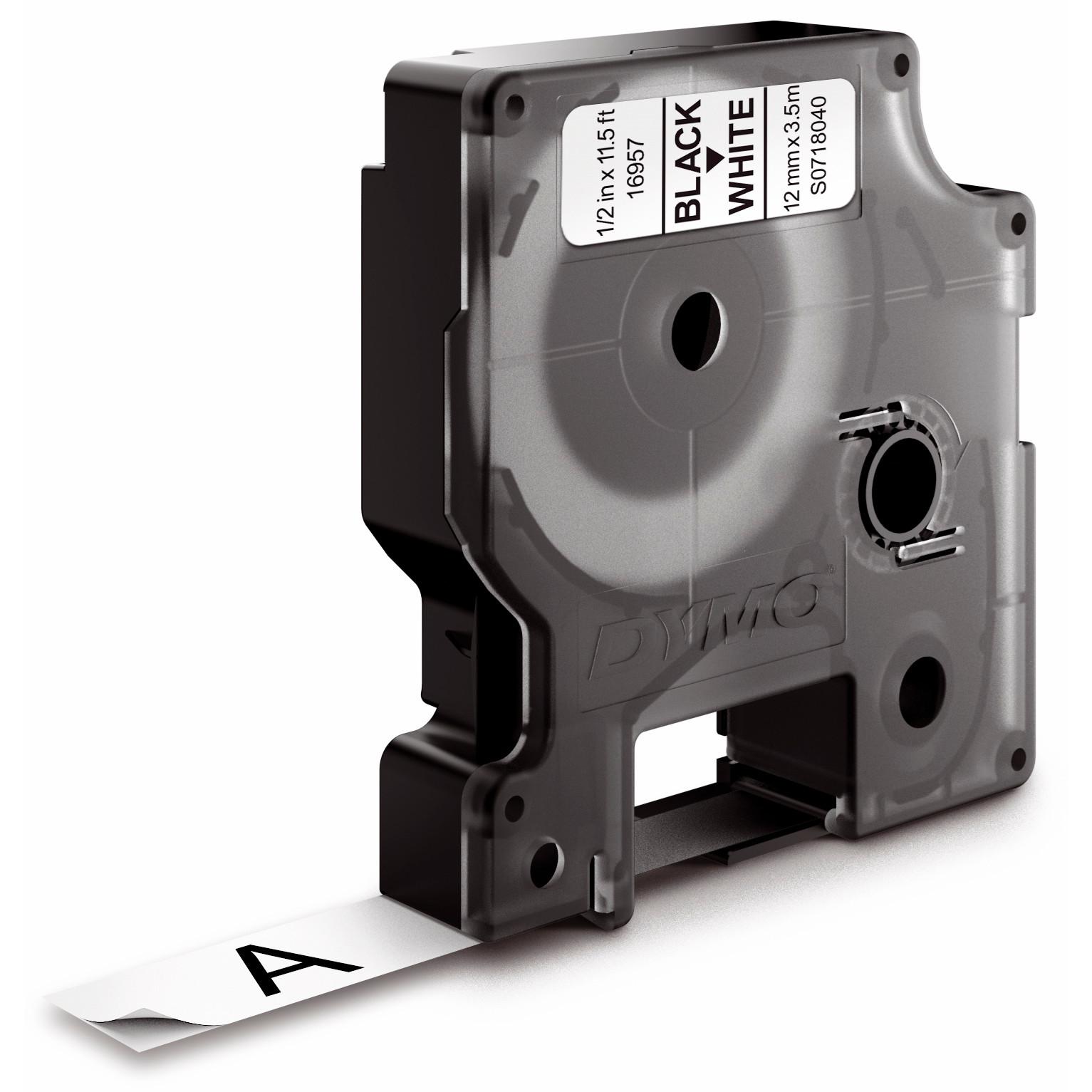 DYMO D1 16957 -  Labeltape fleksibel nylon 12 mm sort på hvid