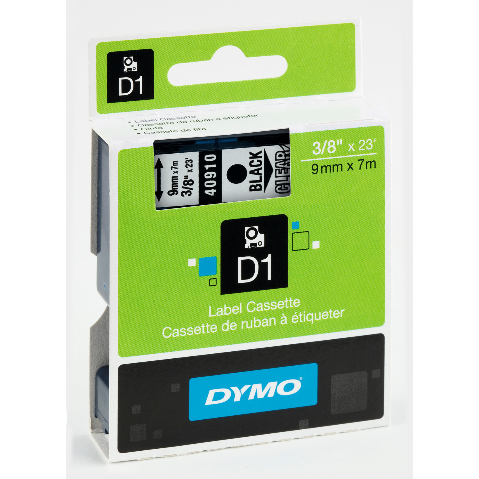DYMO D1 40910 - Labeltape 9 mm sort på klar