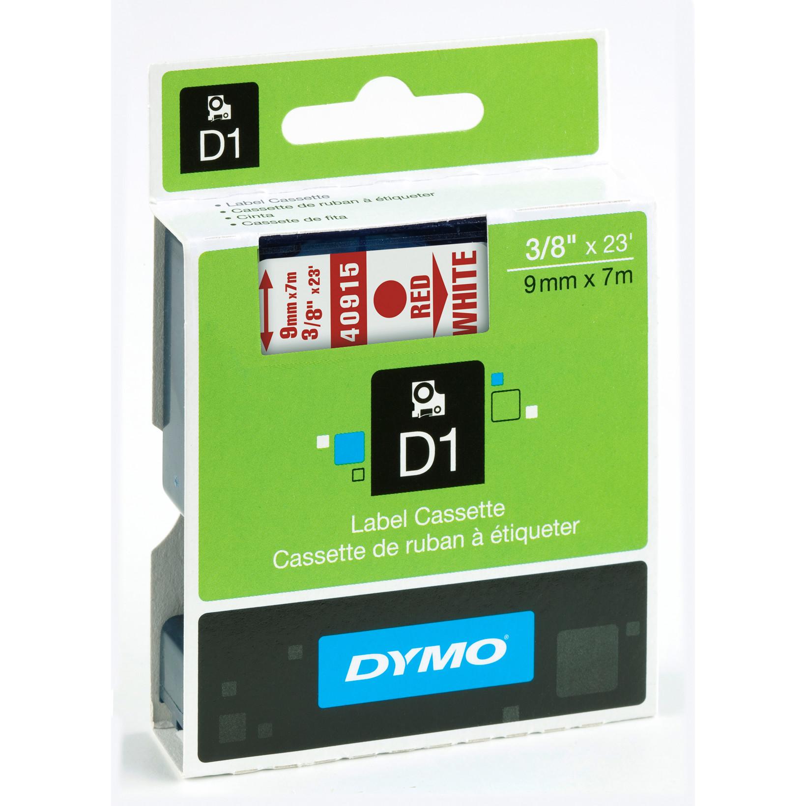 DYMO D1 40915 - Label tape  9mm rød på hvid