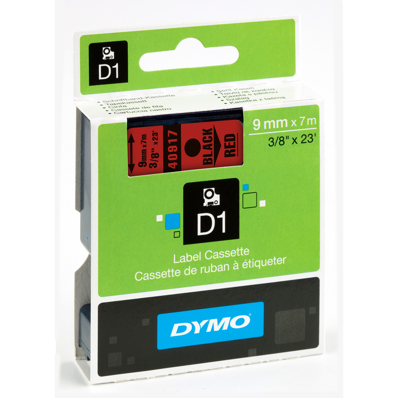 DYMO D1 40917 - Label tape 9 mm sort på rød