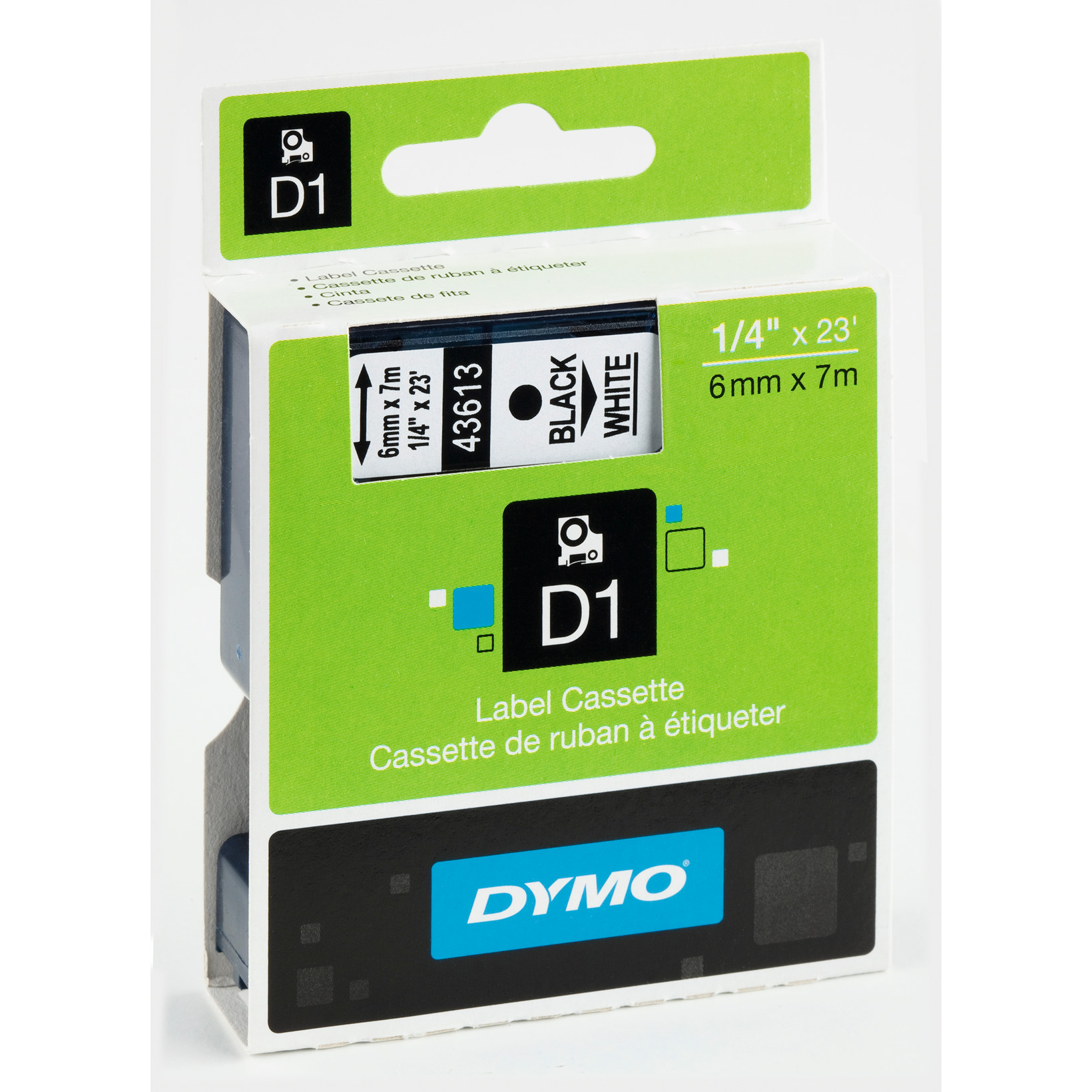 DYMO D1 43613 - Labeltape 6 mm sort på hvid