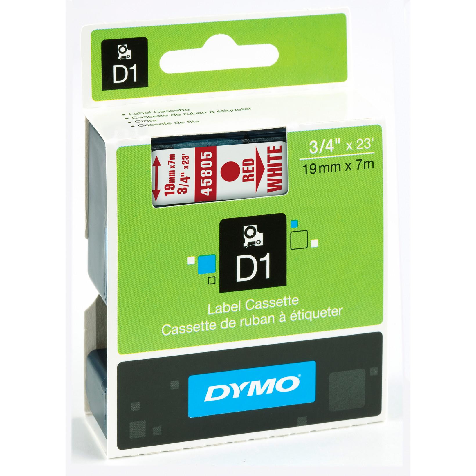 DYMO D1 45805 - Tape 19 mm rød på hvid