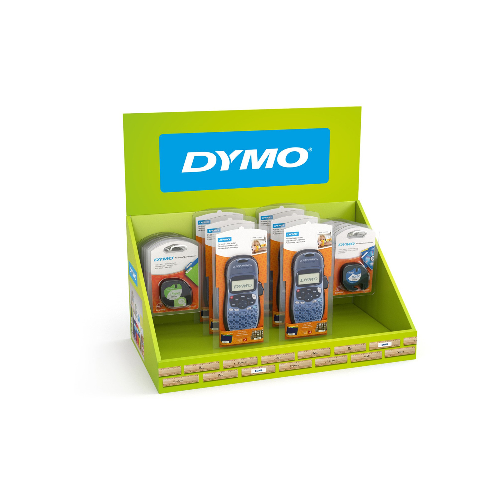 Dymo LetraTag 100H & tapes in display (6+20)