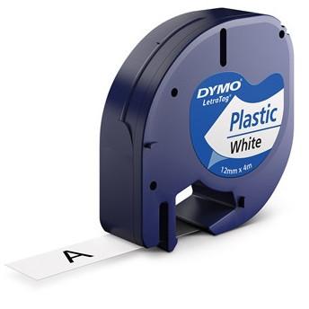 DYMO LetraTAG S0721660 - Labeltape 12 mm x 4 m hvid plasttape