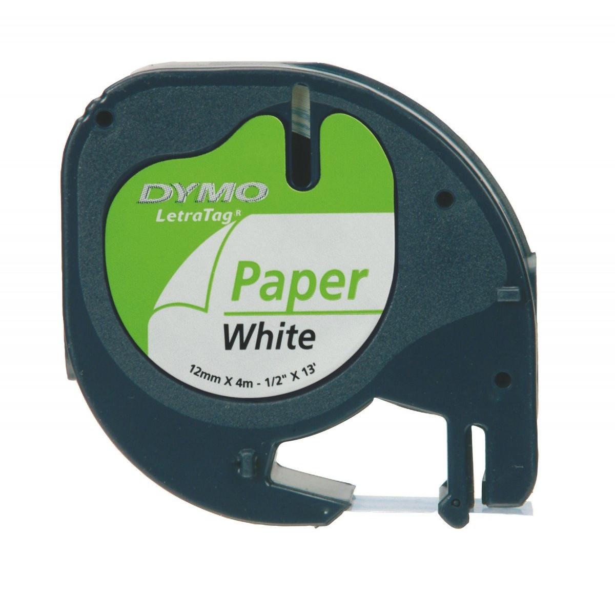 Dymo S0721520 LetraTag - 12 mm sort tekst på hvid papirtape