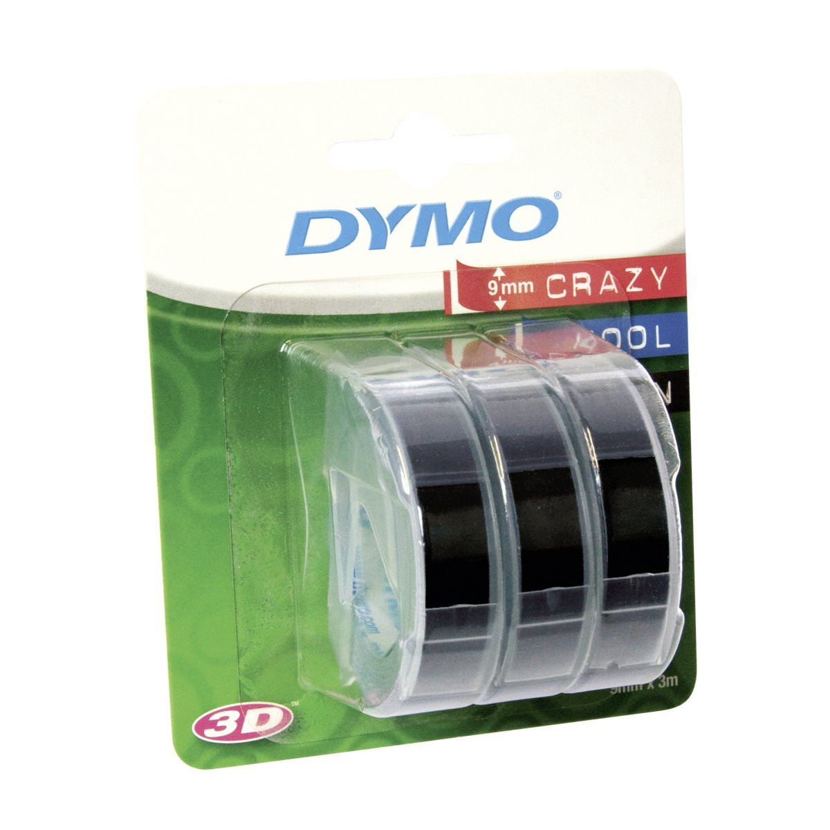 Dymo Sort 9 mm 3D Prægetape - 3 ruller