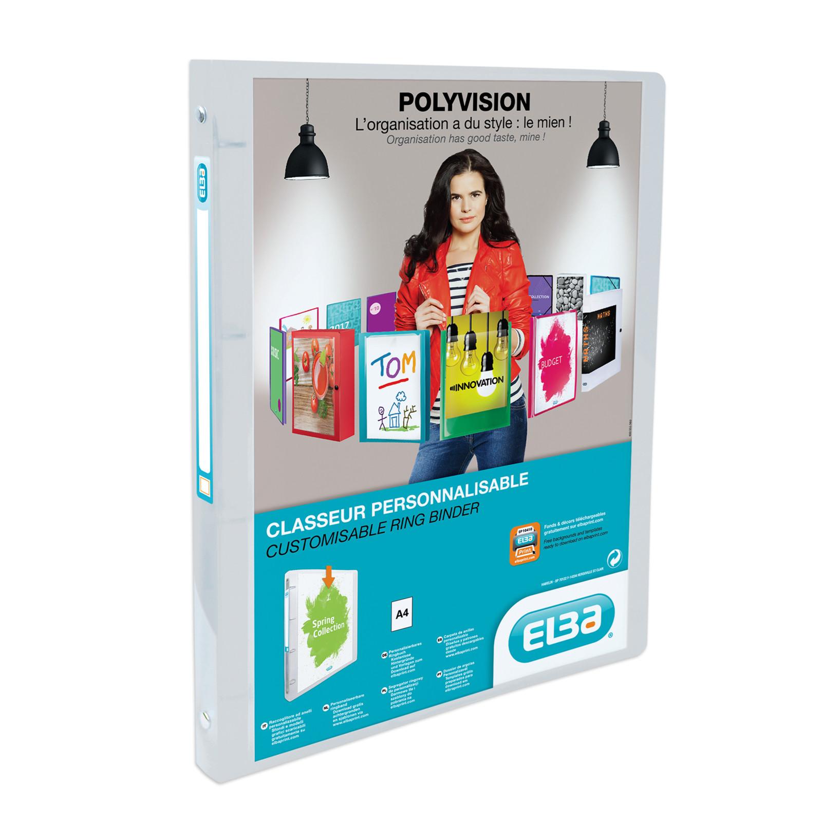 Elba Polyvision indstiksmappe A4 med 20 mm ryg og forsidelomme - Transparent