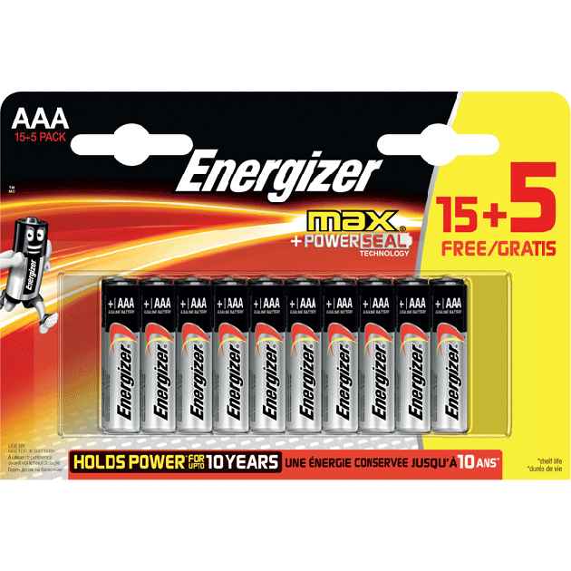 Energizer Max AAA/E92 (15+5 pack)