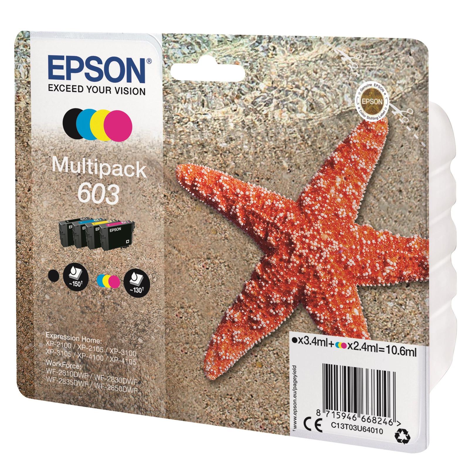 Epson T03U Multipack 4-colours 603 Ink Cartridge w/alarm