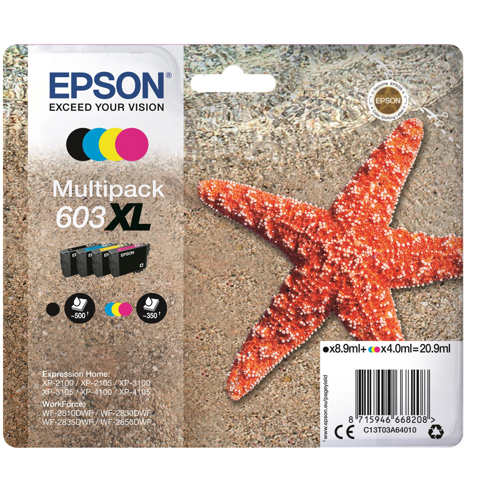 Epson T03U Multipack 4-colours 603XL Ink Cartridge
