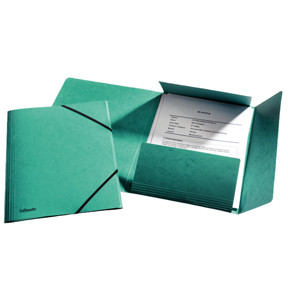 Esselte 3-flap Folder w/elastic  A4 green - FSC
