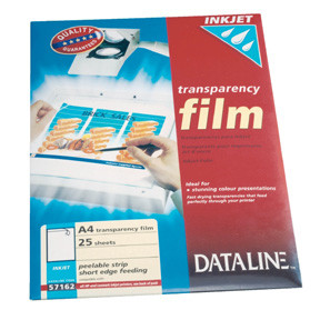 Transparent papir - Dataline til HP og Lexmark inkjetprintere A4 100 mic - 25 ark