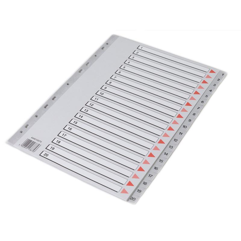 Faneblade 1-20 - Q-Line A4 grå med kartonforblad