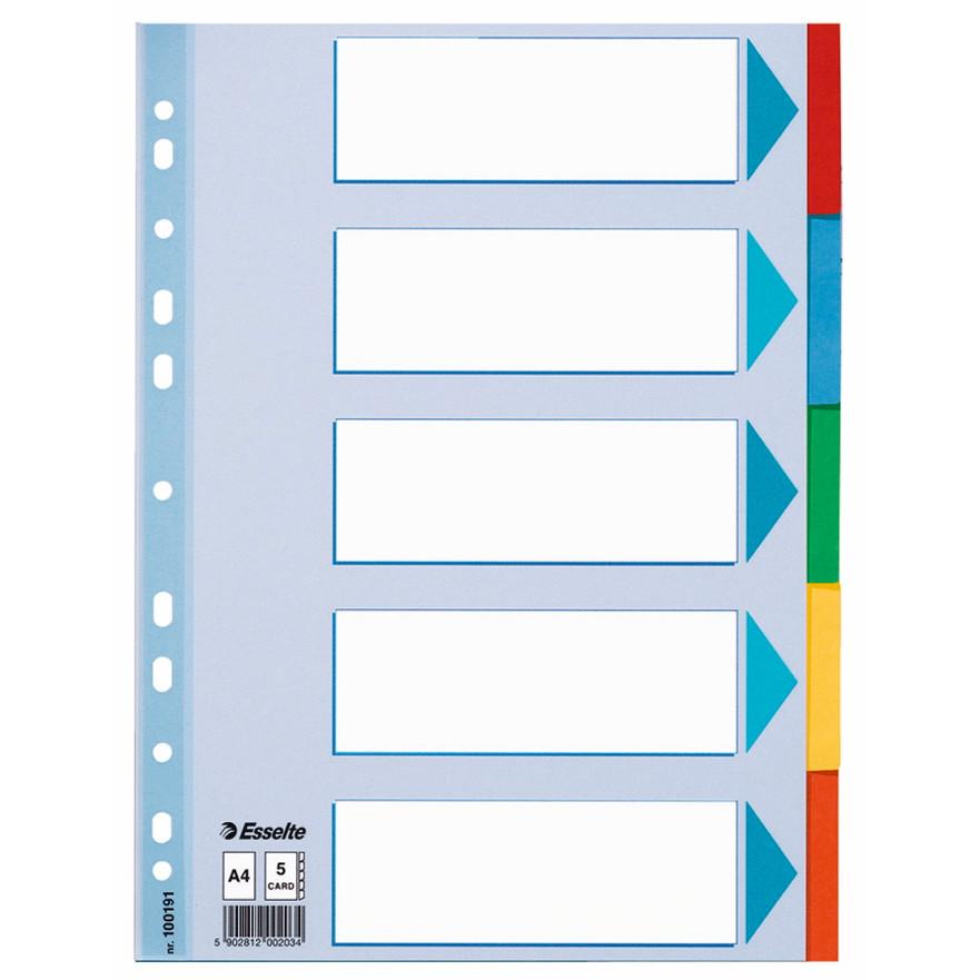 Faneblade 1-5 Esselte A4 - farvede faner i karton med forblad