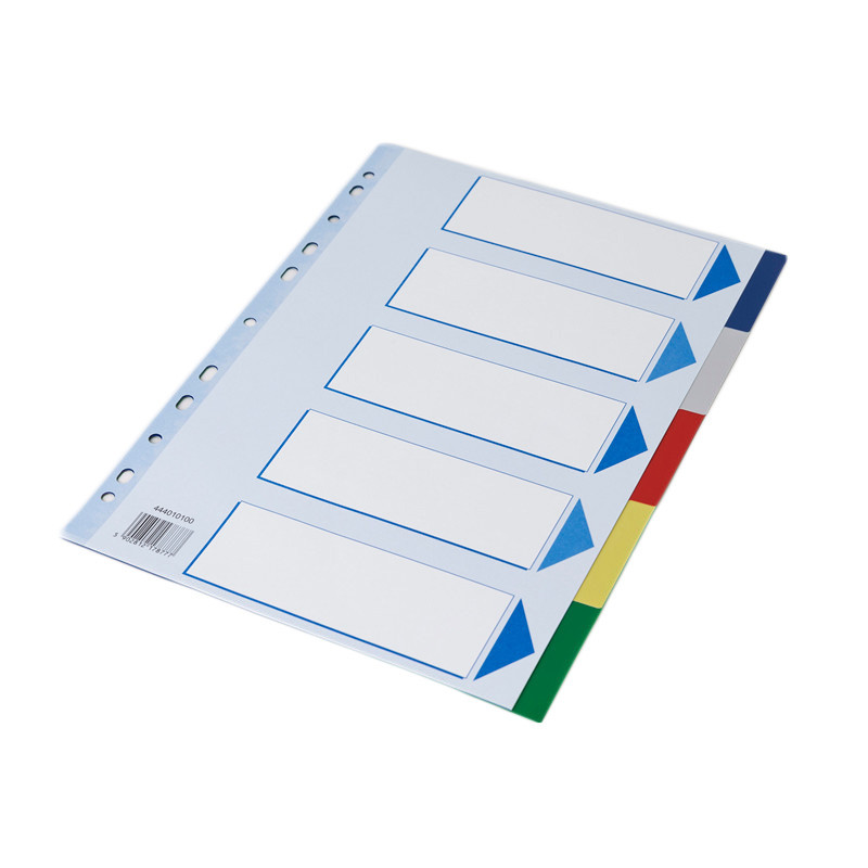 Faneblade 5-delt - Q-Line A4 farvede faner med kartonforside