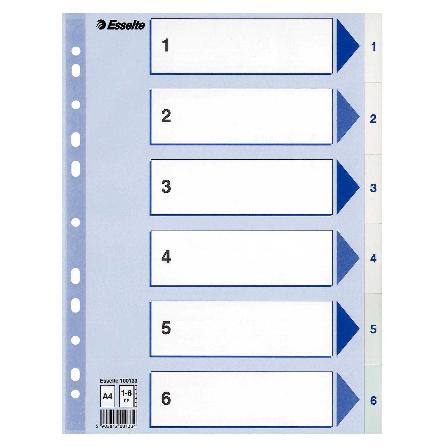 Faneblade Esselte 1-6 A4 - hvide plastfaner med blå forside i karton