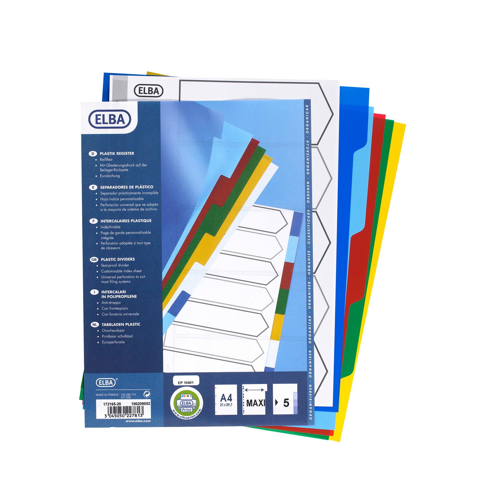 Faneblade farvet 1-5 Elba A4 Maxi - plastfaner med printbar forside
