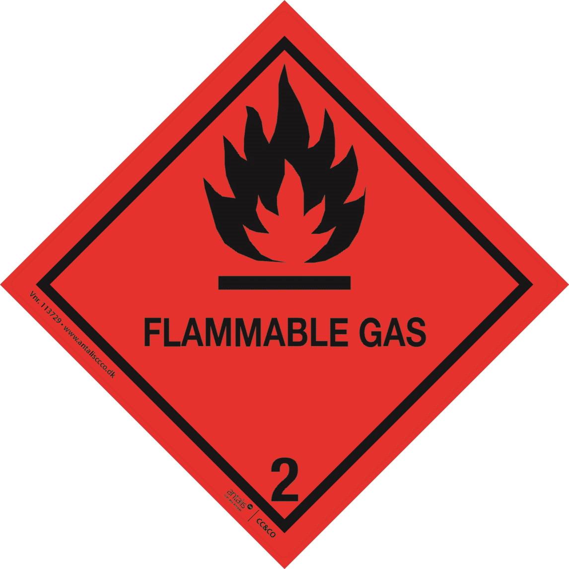 Fareetiket - Klasse 2.1 rød-sort 100 x 100 mm - 250 stk