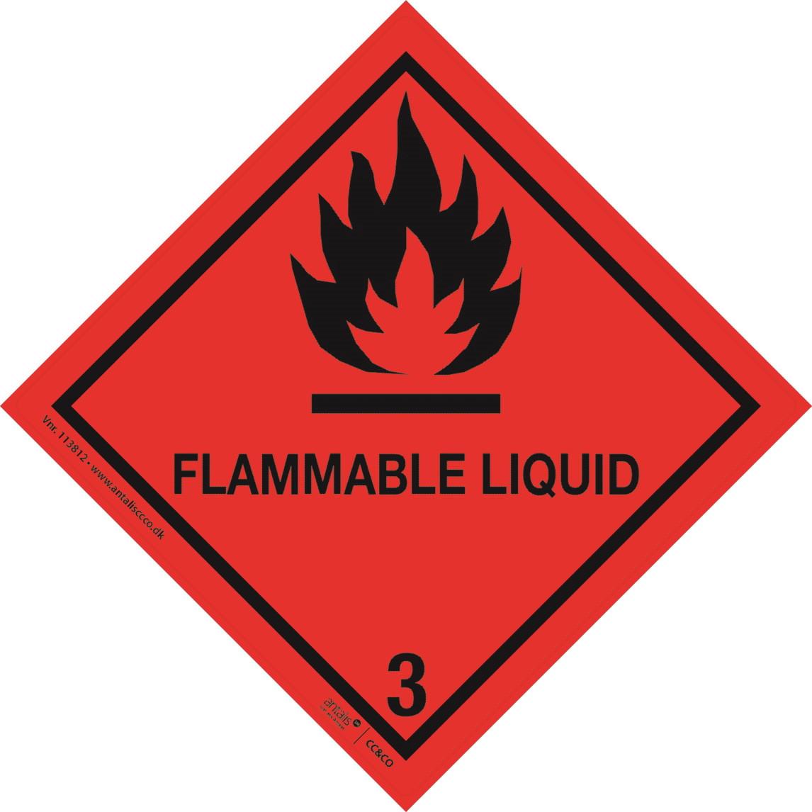 Fareetiket - Klasse 3 rød og sort 100 x 100 mm - 250 stk