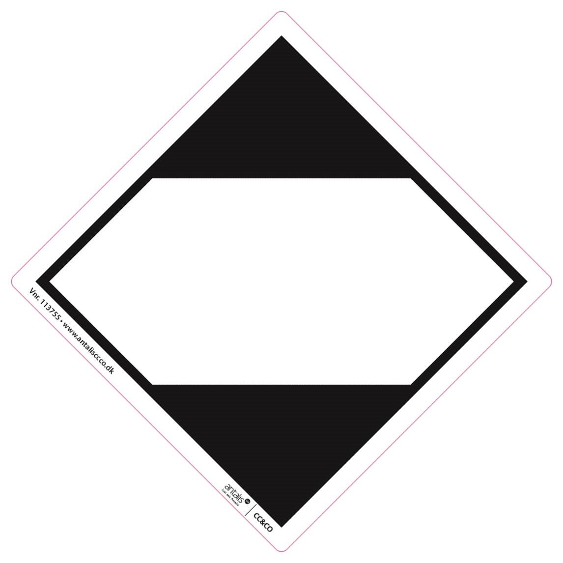 Fareetiket - LQ Vej og Sø hvid-sort 100 x 100mm - 250 stk