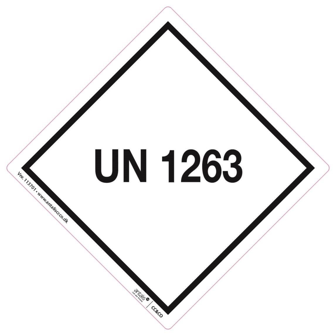 Fareetiket - UN1263 hvid/sort 100 x 100 mm - 250 stk