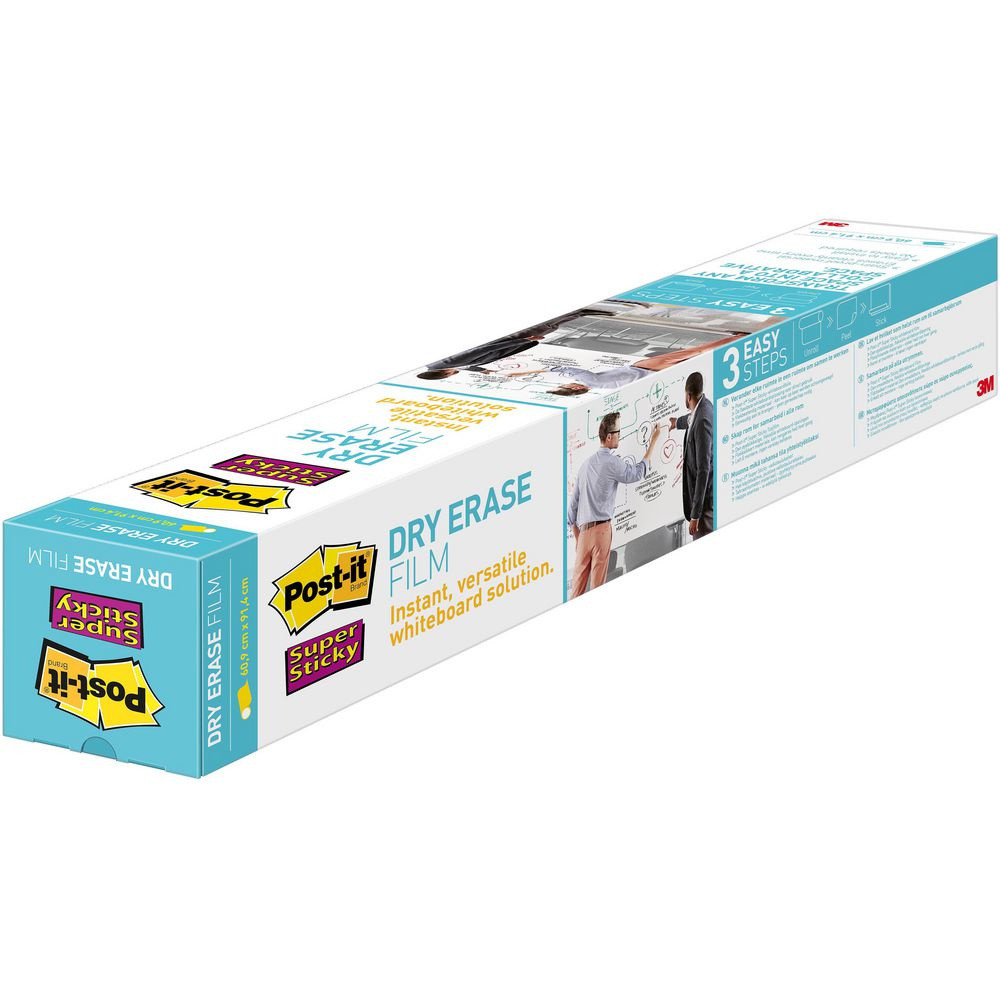 Super Sticky Dry Eraser Film - Post-it 1,219 m x  1,829 m hvid