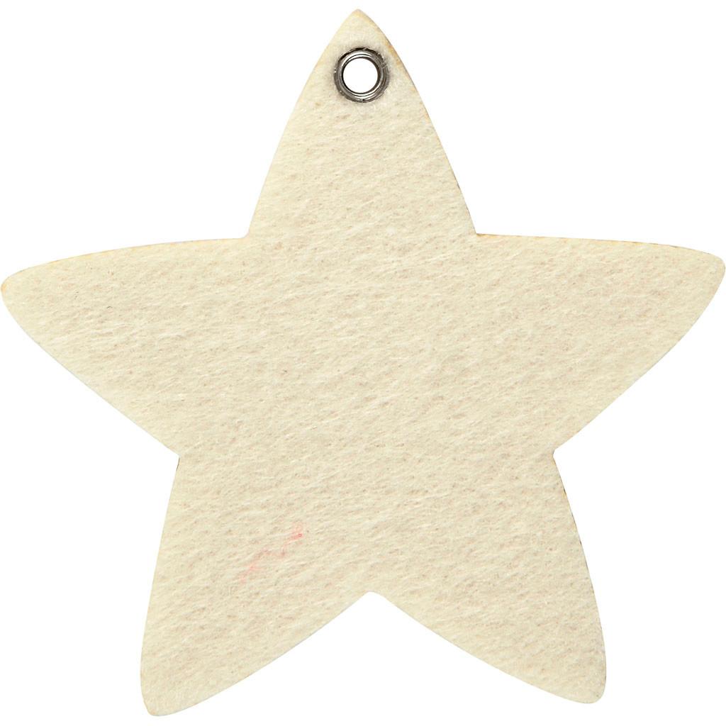 Filt figur størrelse 9 x 8,5 cm tykkelse 3 mm råhvid stjerne - 5 stk.