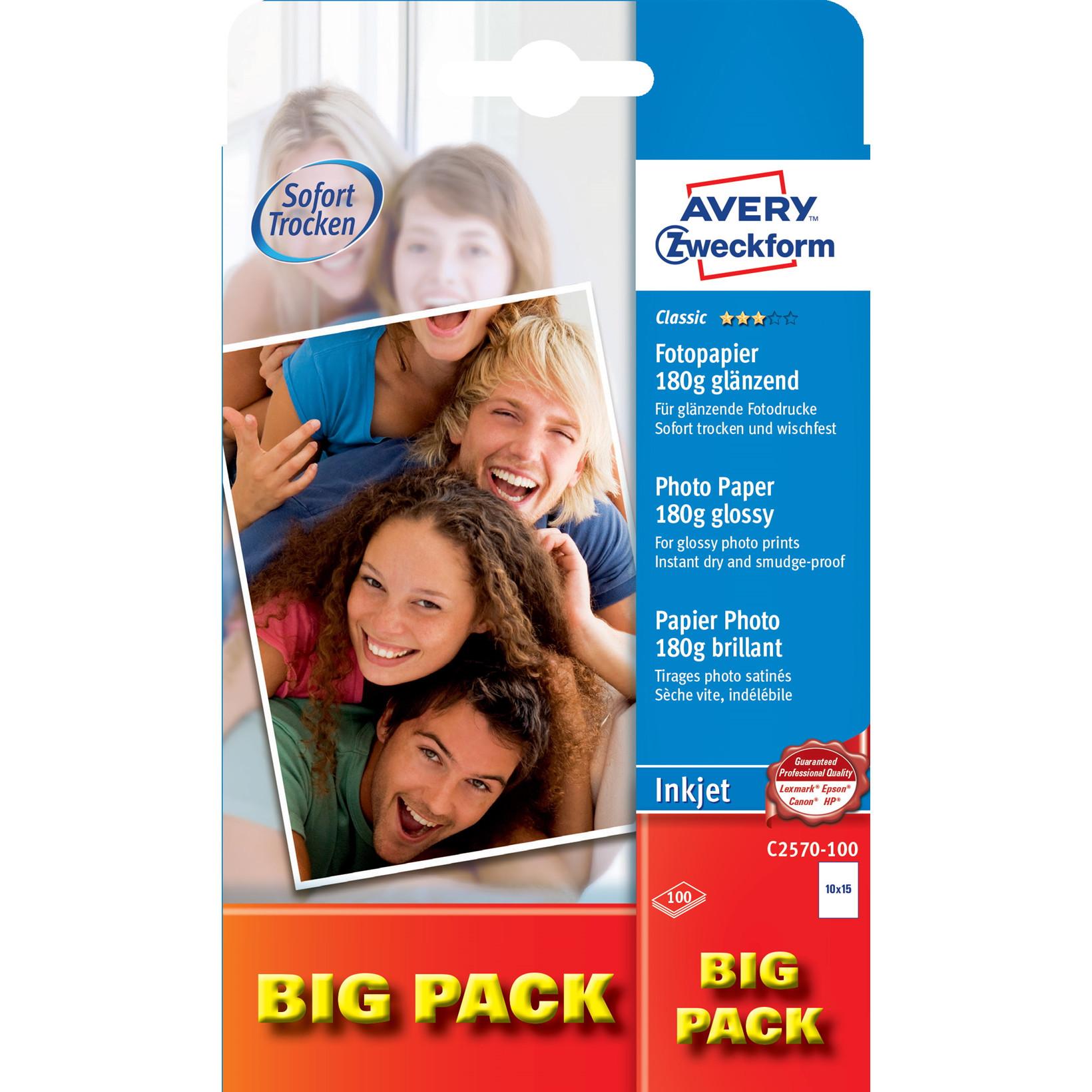Fotopapir 10x15 cm 180 gram Glossy inkjet 1 foto pr. ark - 100 ark