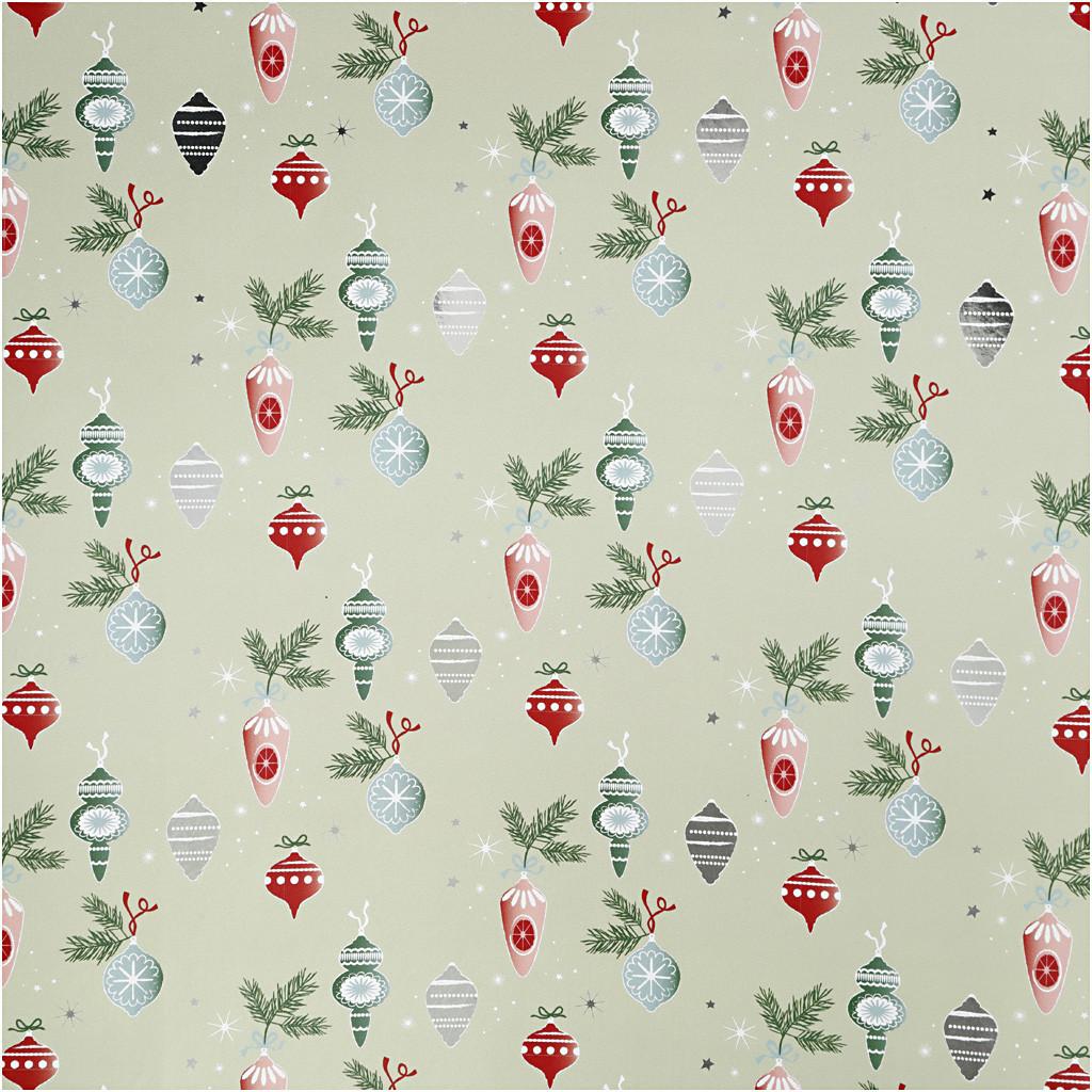 Gavepapir, B: 70 cm, 80 g, grøn, beige, sølv, rød, Julekugler, 2m