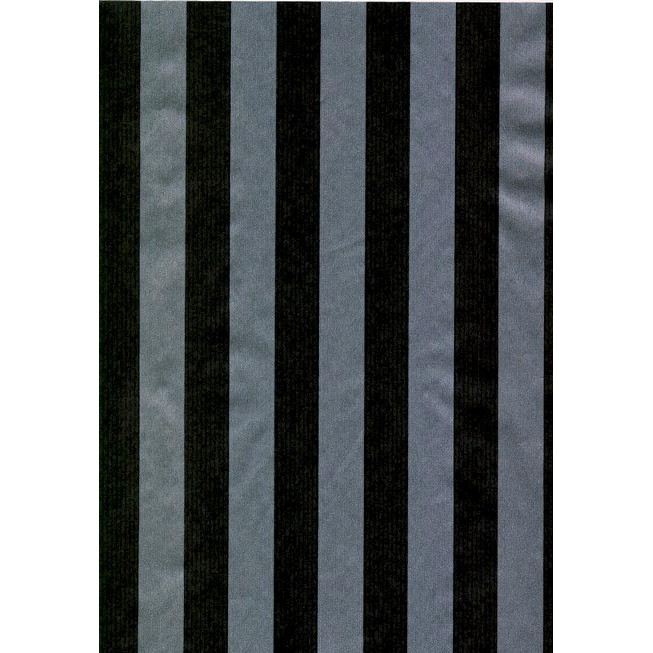 Gavepapir - i sort og sølv nålestrib. 55 cm x 150 m