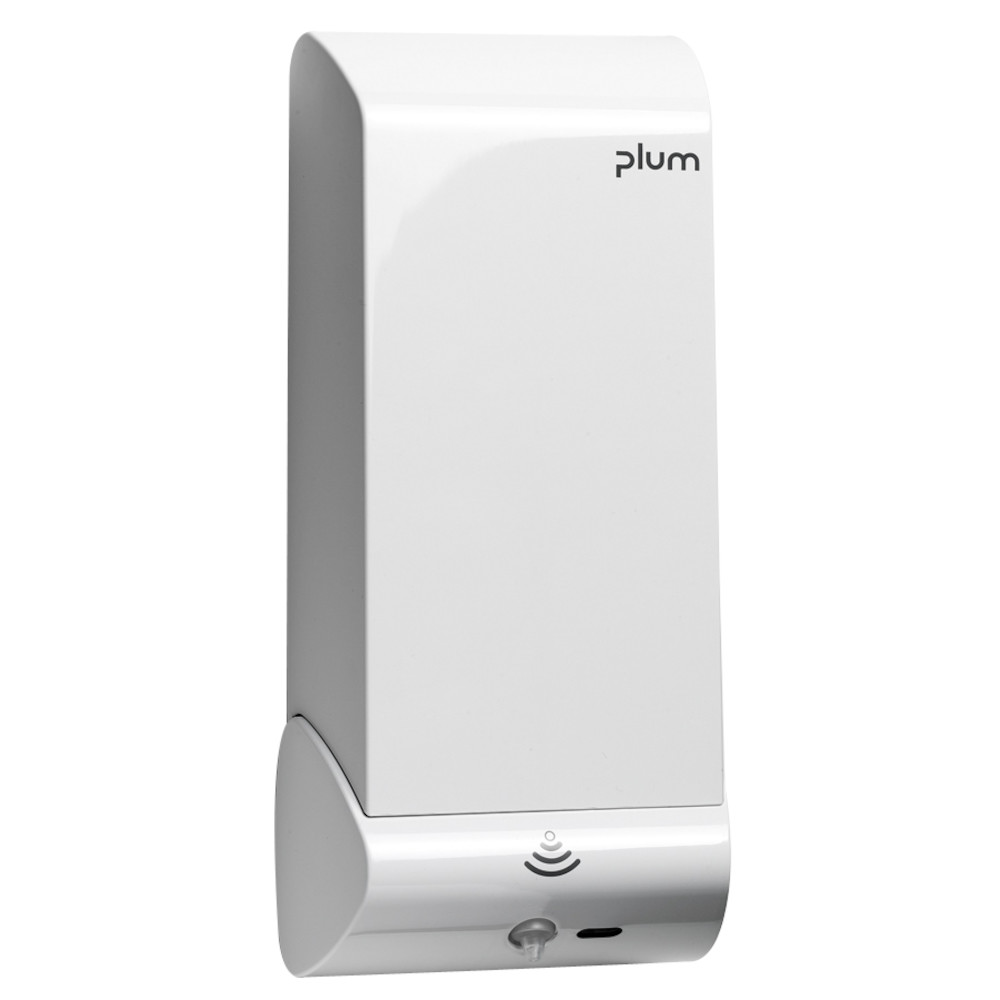 Håndfri dispenser, Plum Combiplum, lukket, med hvidt låg, 737 g, bruger 4 stk. AA batterier