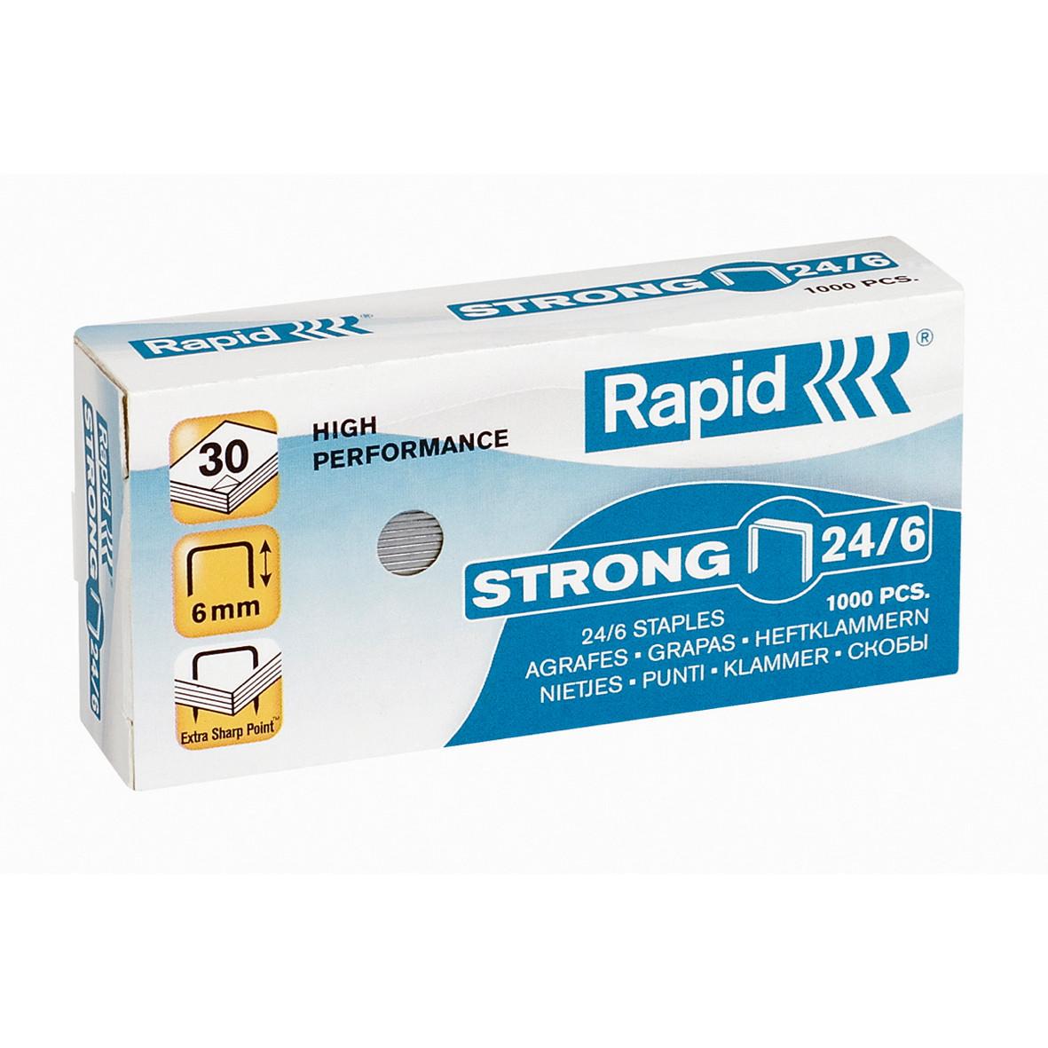 Hæfteklammer Rapid Strong 24/6 - galvaniseret 1000 stk i æske