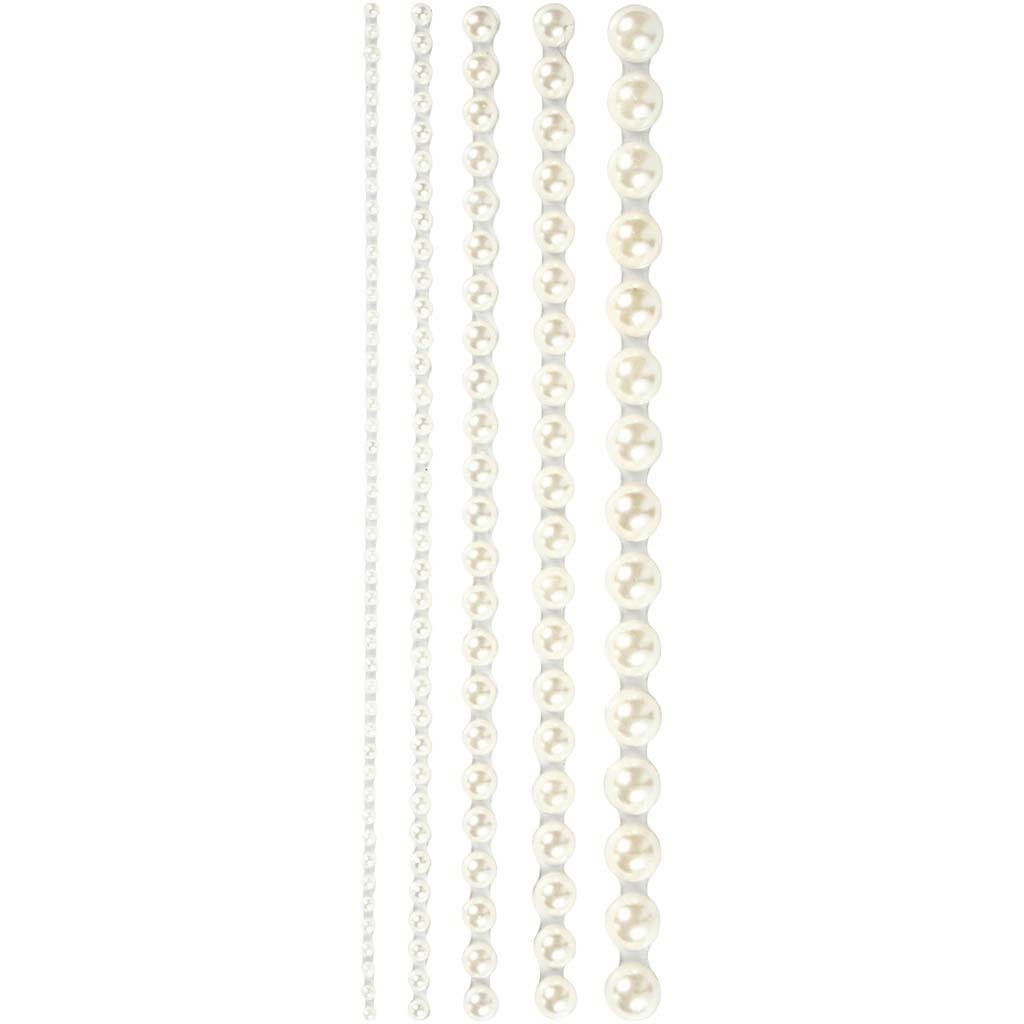 Halv-perler, str. 2-8 mm, hvid, Skagen, 140ass.