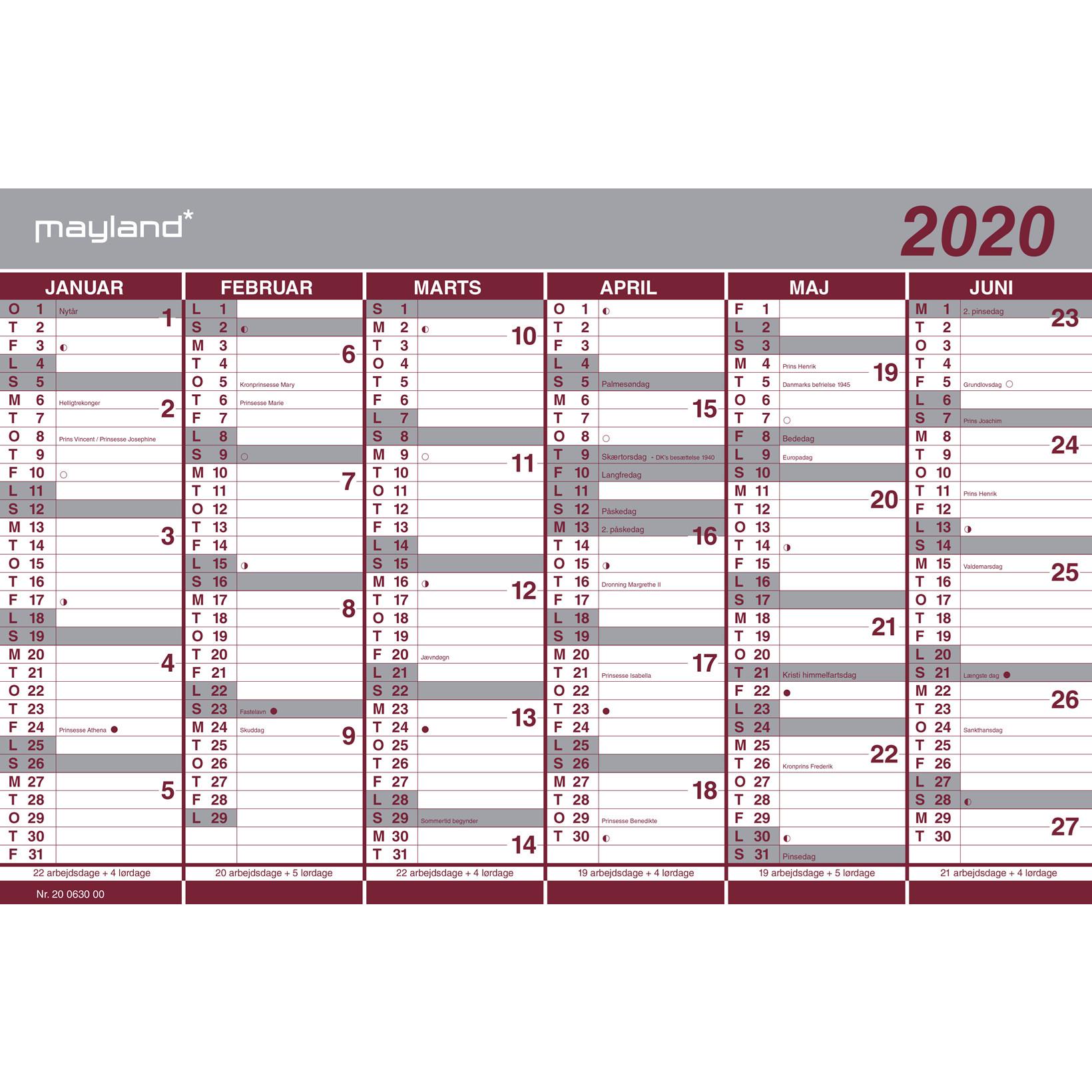 Halvårskalender  Mayland dobbelt 2020 44 x 29 cm - 20 0630 00
