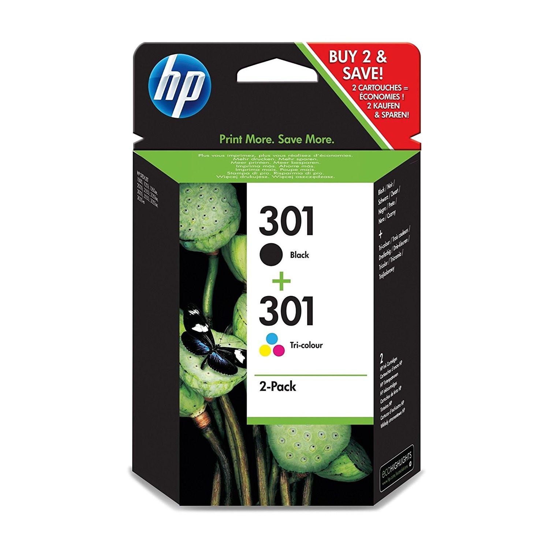 HP No301 black & color ink cartridges (sampack)