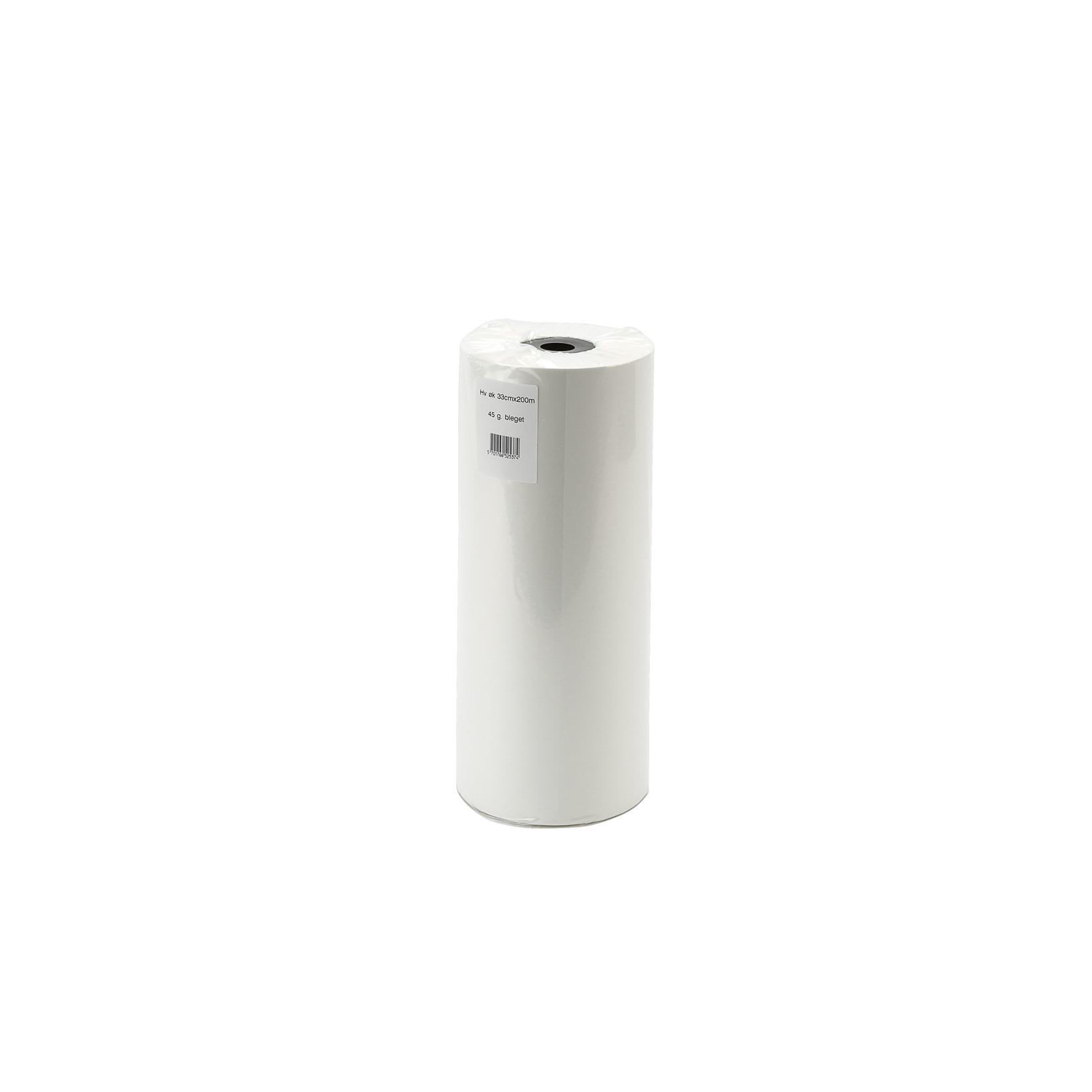 Kraftpapir - i hvid  med paprør 40 cm x 400 m x 45 g