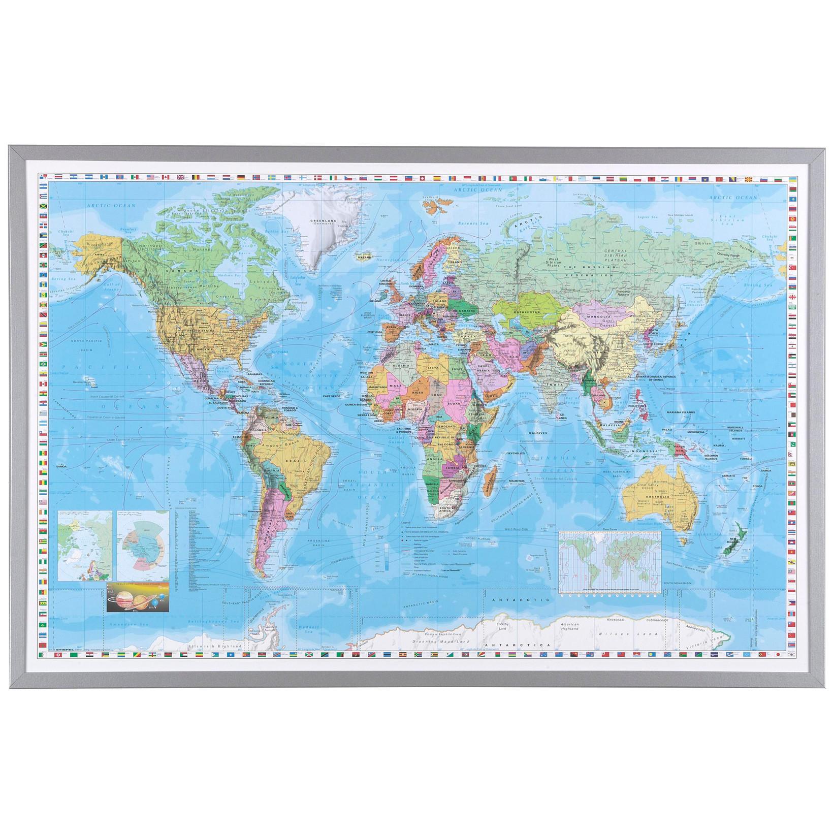 Verdenskort i ramme - 60 x 90 cm