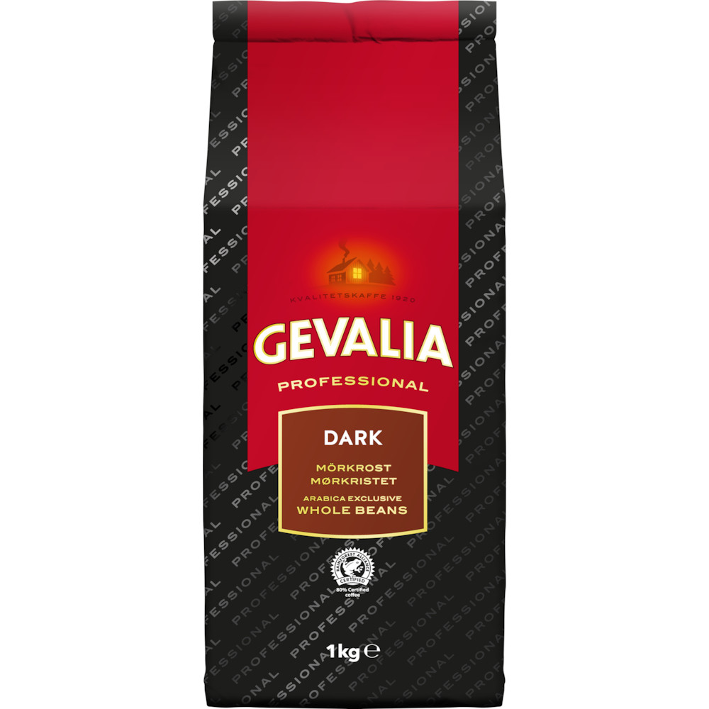 Kaffe, helbønner, Gevalia Professionel, Continental Roast, 1 kg