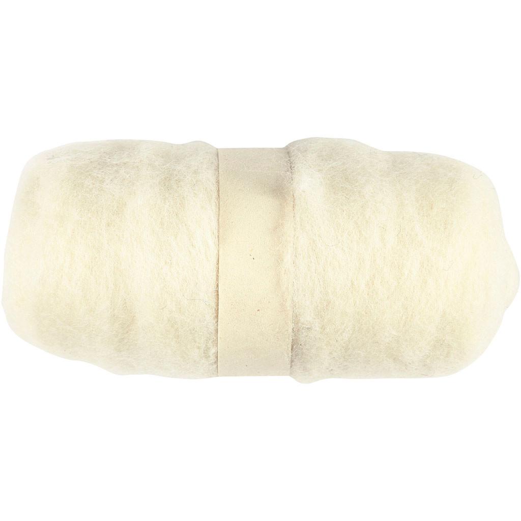 Kartet uld hvid - 100 gram