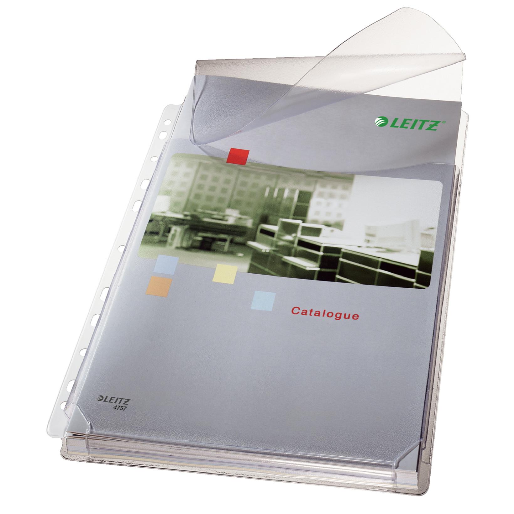 Kataloglommer med klap - 170 my Leitz A4 med præget overflade - 5 stk i pakke