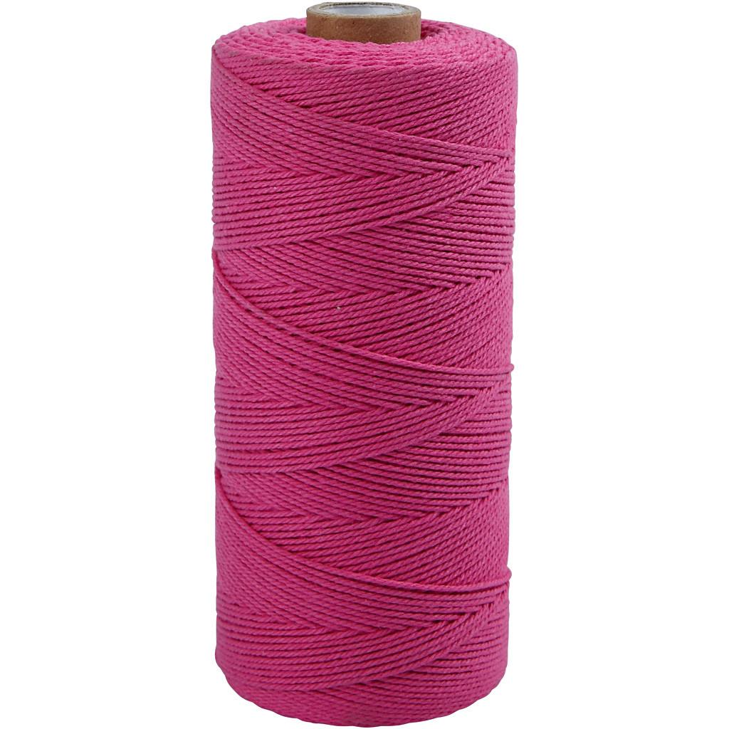 Knyttegarn længde 320 meter tykkelse 1 mm pink Tynd kvalitet 12/12 | 250 gram