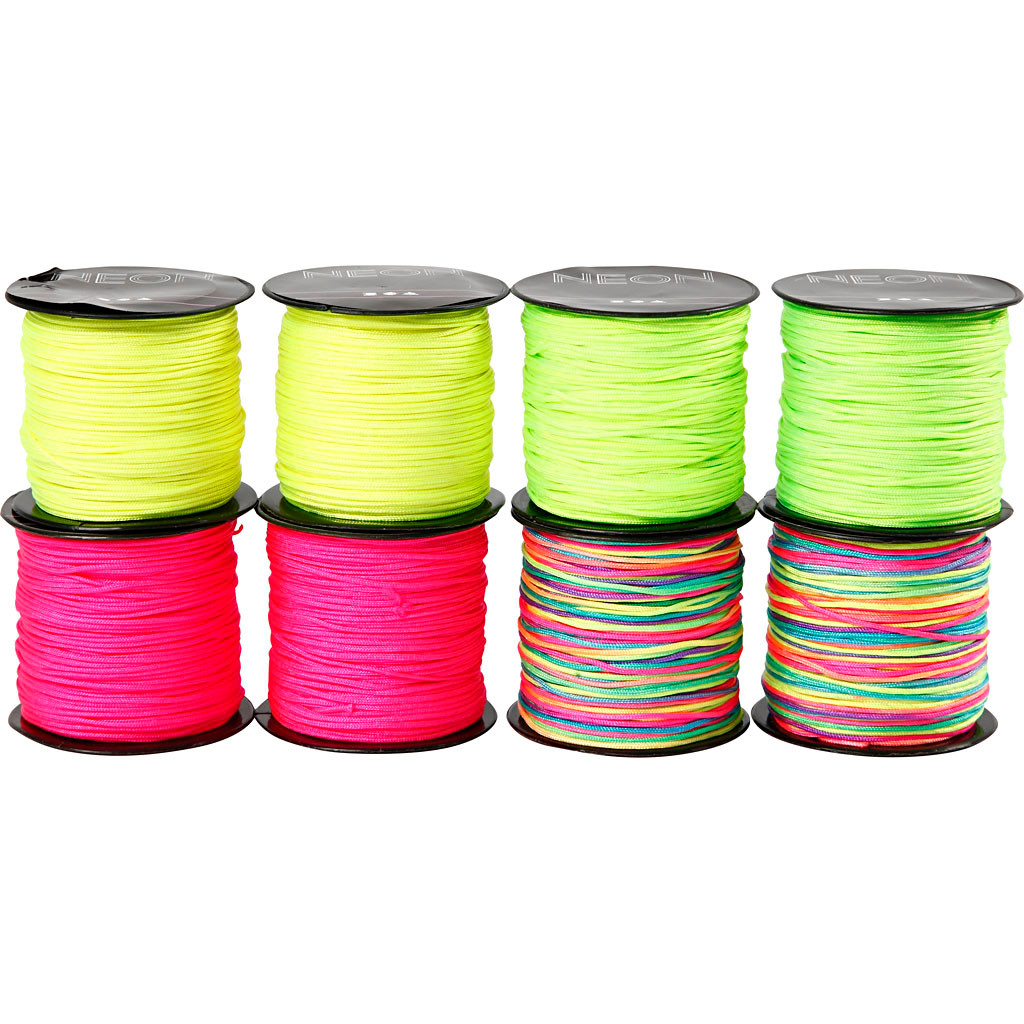 Knyttesnor - sortiment, tykkelse 1 mm, neonfarver, 8x28m