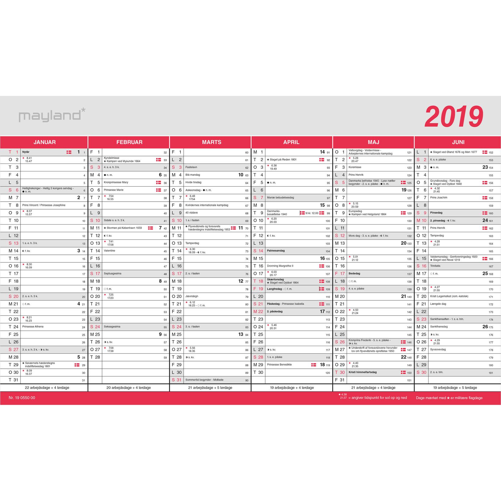 Flagkalender 2019 stor Mayland 39 x 24 cm - 19055000