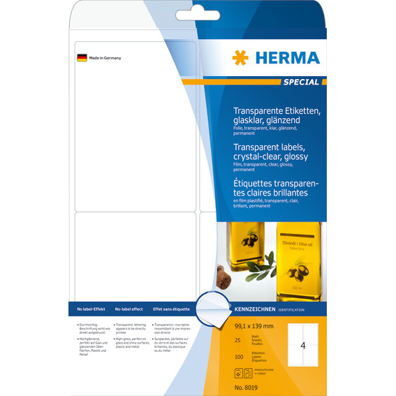 Labels transparent crystal-clear HERMA A4 99,1x139 mm